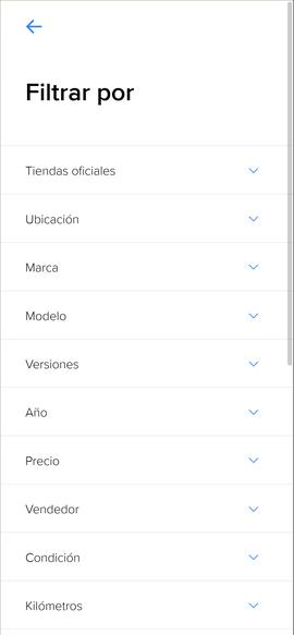 Mercadolibre movil filtros