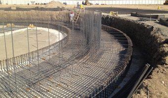 Cimientos para tanque de agua gigante