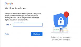 pantalla del registro de gmail