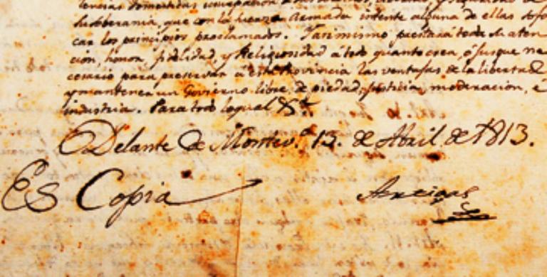 Texto original de las Instrucciones del año 1813, firmado por José Gervasio Artigas